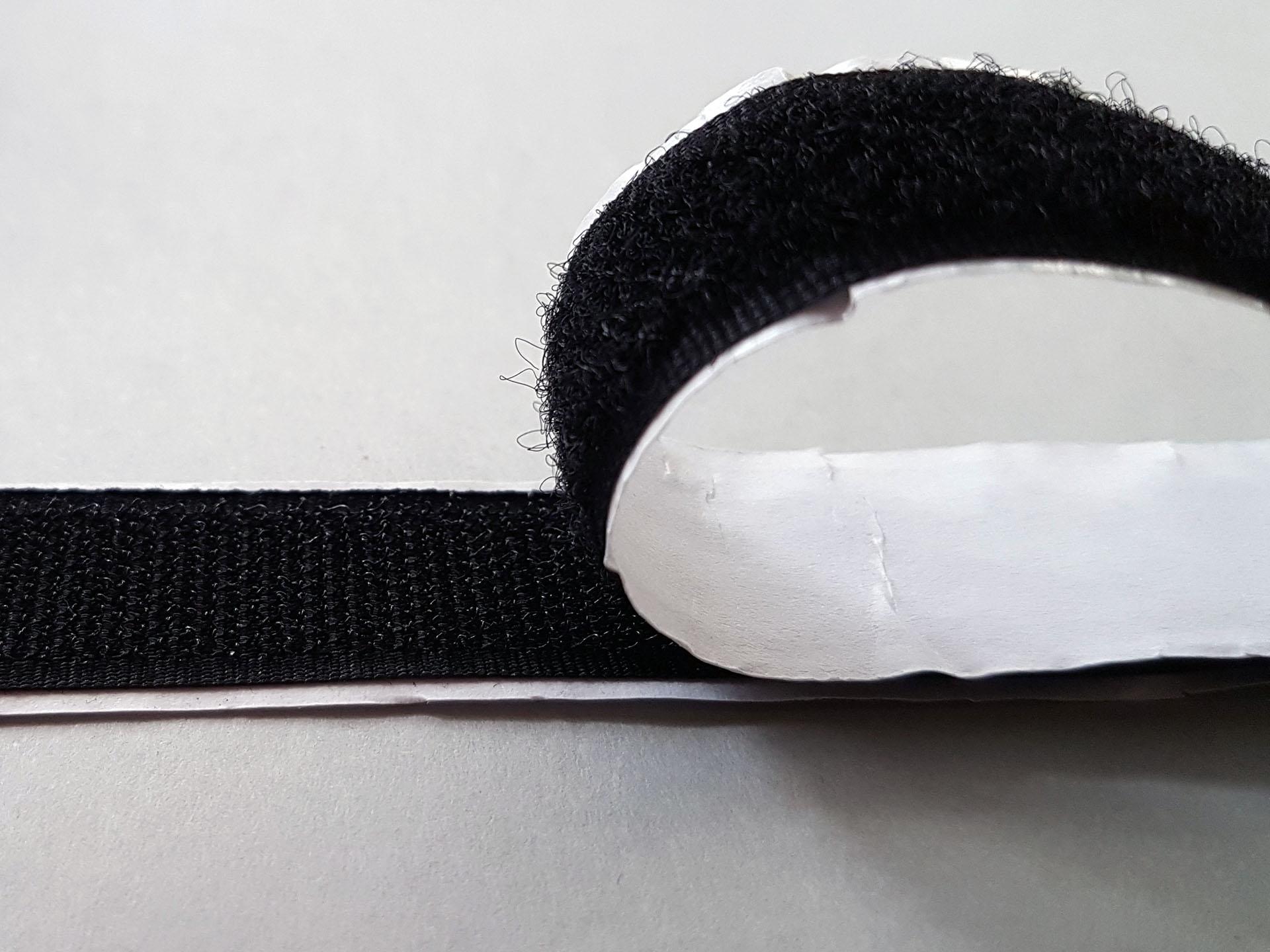 Flauschband selbstklebend Breite 20mm Schwarz Meterware
