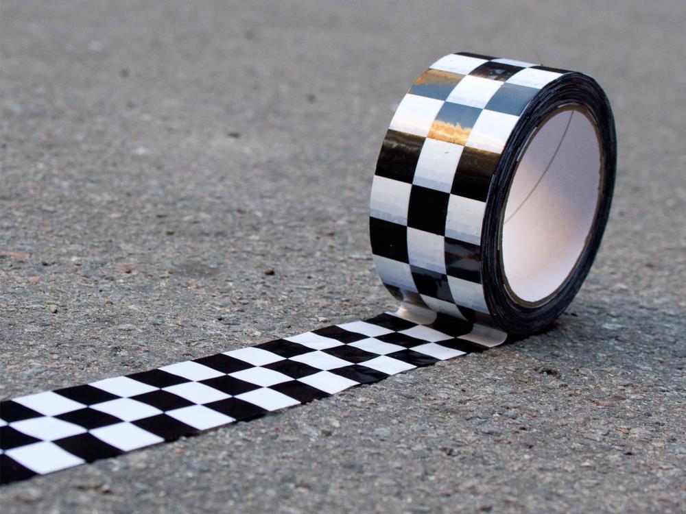 Karoklebeband, Checkertape, 50mm x 66m, schwarz/weiß