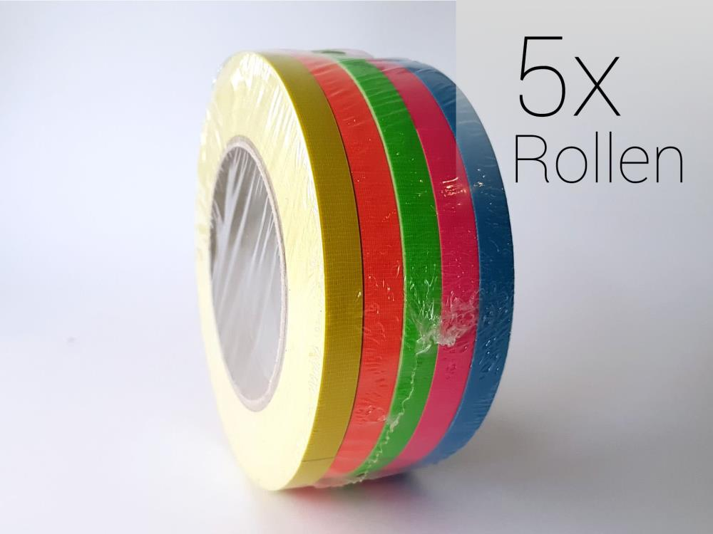 Gewebeband  Neonfarben Set, 5x Rollen 10mm x 25m