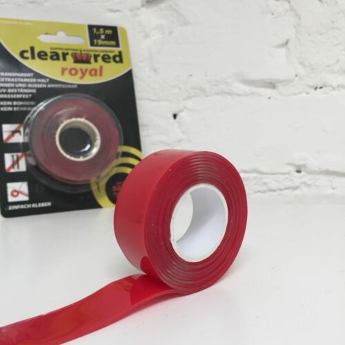 clear red royal, doppelseitiges Massivklebeband, 19mm x 1,5m